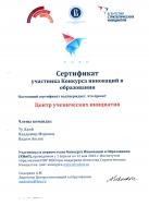 Сертификат участника Конкурса инноваций в образовании