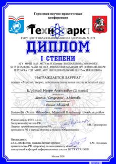 Дипломом I степени награждается ученик 2 класса Игорь Ш.,